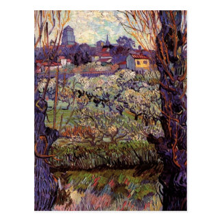 Van Gogh Orchard in Blossom with View of Arles Postcard
