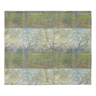 Van Gogh Orchard with Blooming Apricot Trees Duvet Cover