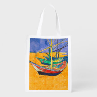 Van Gogh Painting Famous Boats Reusable Grocery Bags
