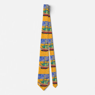 Van Gogh Painting Famous Boats Tie