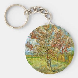 Van Gogh Pink Peach Tree in Blossom, Fine Art Basic Round Button Keychain