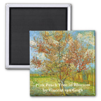 Van Gogh Pink Peach Tree in Blossom, Fine Art Square Magnet