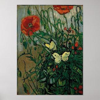 Van Gogh Poppies and Butterflies (F748) Fine Art Poster