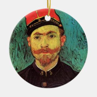 Van Gogh; Portrait of Milliet, Lieutenant Soldier Round Ceramic Ornament