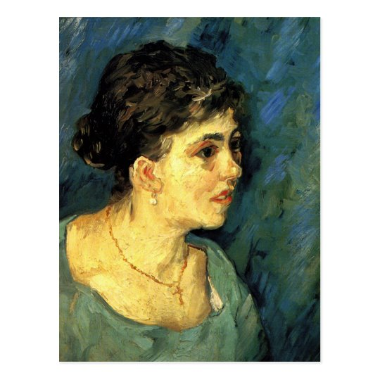 Van Gogh, Portrait of Woman in Blue, Vintage Art Postcard