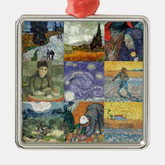 Van Gogh products Silver-Colored Square Ornament