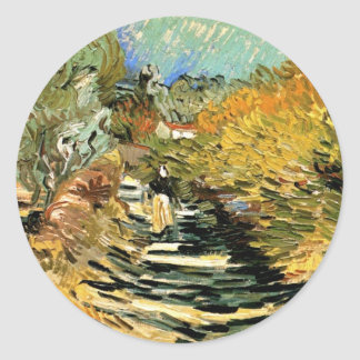 Van Gogh Road at Saint Remy with Female Figure Classic Round Sticker
