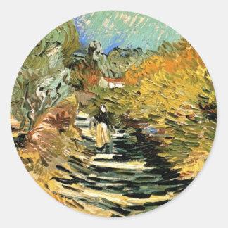 Van Gogh Road at Saint Remy with Female Figure Round Sticker