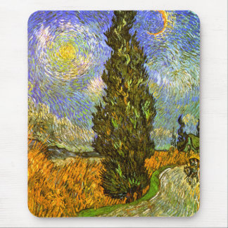 Van Gogh: Road with Cypress and Star Mouse Pad