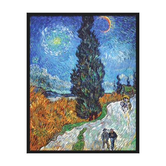 Van Gogh - Road With Cypresses Fine Art Canvas Print