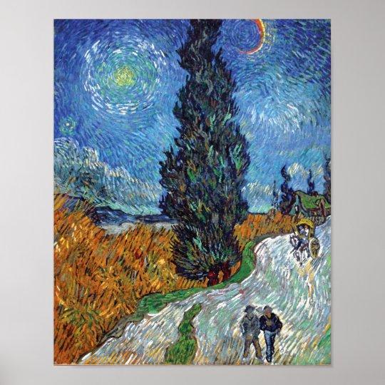 Van Gogh - Road With Cypresses Fine Art Poster