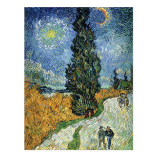 Van Gogh Road With Cypresses Postcard