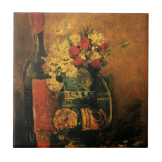 Van Gogh Romantic Fine Art with Roses and Wine Tile