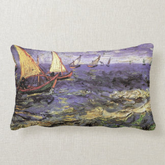 Van Gogh Seascape at Saintes Maries, Fine Art Lumbar Pillow