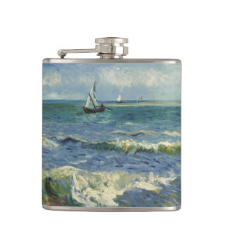 Van Gogh Seascape near Les Saintes Maries Mer Hip Flask