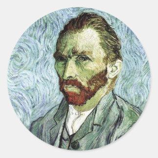 Van Gogh Self-Portrait Classic Round Sticker