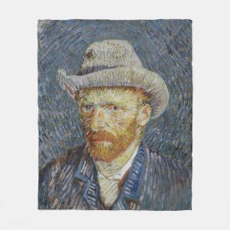 Van Gogh Self Portrait Grey Felt Hat Painting Art Fleece Blanket