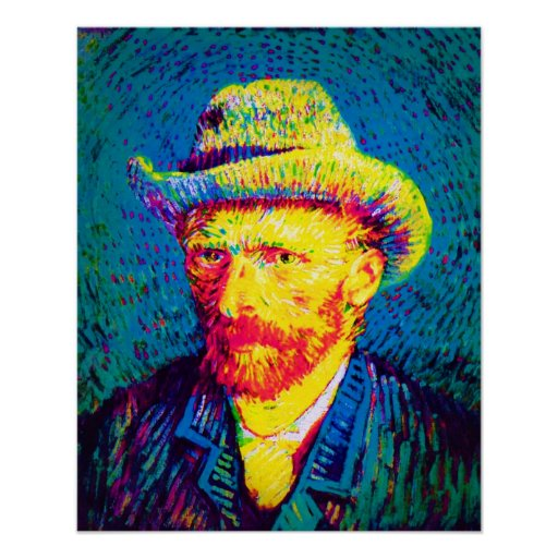Van Gogh - Self Portrait With Grey Felt Hat Print