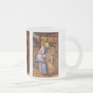 Van Gogh; Sheep Shearers, Vintage Impressionism Frosted Glass Coffee Mug