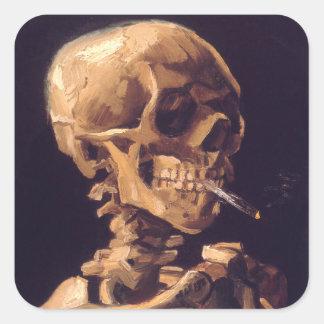 Van Gogh: Skull with Burning Cigaret Square Sticker