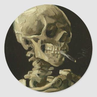 Van Gogh - Skull with Burning Cigarette Classic Round Sticker
