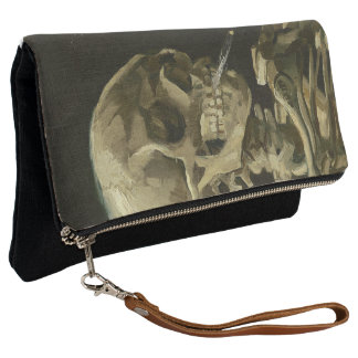 Van Gogh Skull with Burning Cigarette Clutch