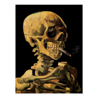 Van Gogh Skull With Burning Cigarette Poster