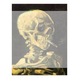 Van Gogh Skull with Burning Cigarette, Vintage Art Customized Letterhead