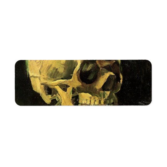 Van Gogh Skull with Burning Cigarette, Vintage Art Return Address Label