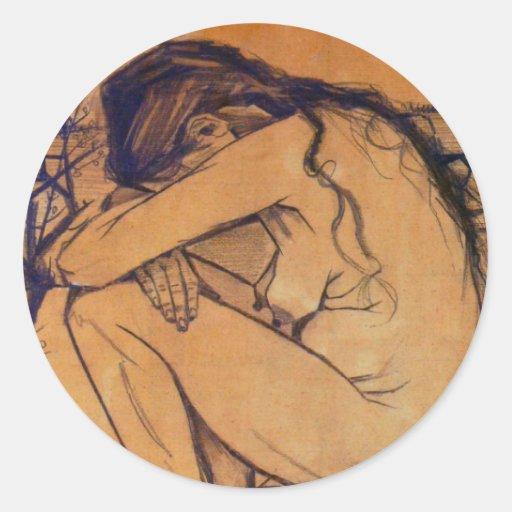 Van Gogh, Sorrow, Vintage Post Impressionism Art Stickers