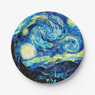 Van Gogh - Starry Night 7 Inch Paper Plate