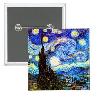 Van Gogh Starry Night F612 Vintage Fine Art Pinback Buttons