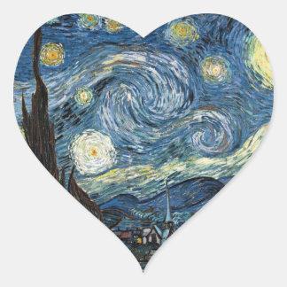Van Gogh Starry Night Heart Sticker