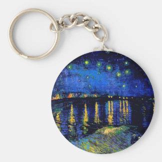 Van Gogh Starry Night Over Rhone  (F474) Fine Art Keychain