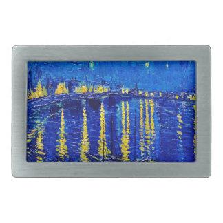 Van Gogh Starry Night Over Rhone Rectangular Belt Buckles