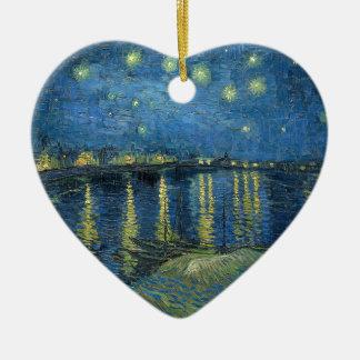 Van Gogh: Starry Night Over the Rhone Ceramic Heart Ornament