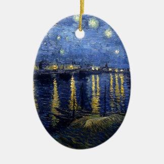 Van Gogh: Starry Night Over the Rhone Ceramic Oval Ornament