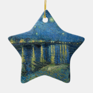 Van Gogh: Starry Night Over the Rhone Ceramic Star Ornament