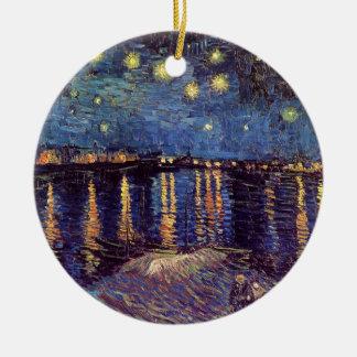 Van Gogh Starry Night Over the Rhone, Fine Art Round Ceramic Ornament