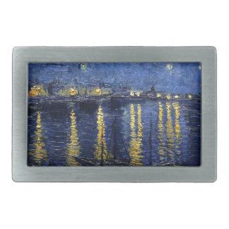 Van Gogh: Starry Night Over the Rhone Rectangular Belt Buckles