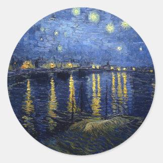 Van Gogh: Starry Night Over the Rhone Round Sticker