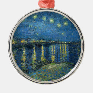 Van Gogh: Starry Night Over the Rhone Silver-Colored Round Ornament