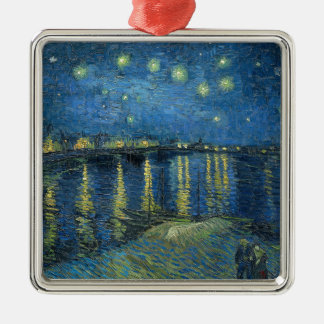 Van Gogh: Starry Night Over the Rhone Silver-Colored Square Ornament
