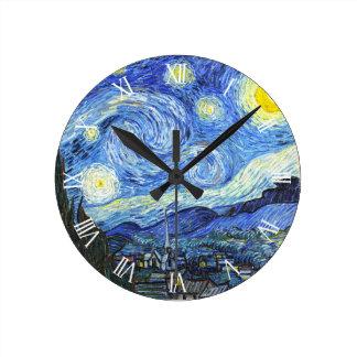 Van Gogh Starry Night Roman Numerals Round Clock
