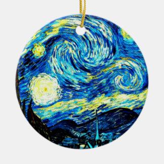 Van Gogh: Starry Night Round Ceramic Ornament