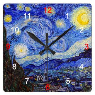 "Van Gogh, ""Starry Night"" Square Wall Clock"