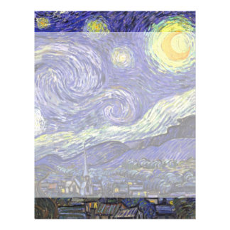 Van Gogh Starry Night, Vintage Fine Art Landscape Letterhead Design