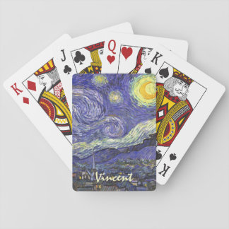 Van Gogh Starry Night, Vintage Fine Art Landscape Playing Cards
