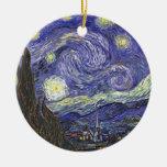 Van Gogh Starry Night, Vintage Fine Art Landscape Round Ceramic Ornament