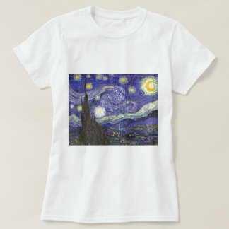 Van Gogh Starry Night, Vintage Fine Art Landscape Tee Shirts